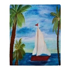Red Sailboat Throw Blanket