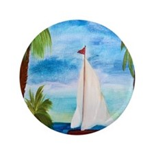 """Red Sailboat 3.5"""" Button"""