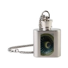 Aircraft engine fan in cowling Flask Necklace