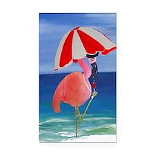 Flamingo Beach Wine Rectangle Car Magnet