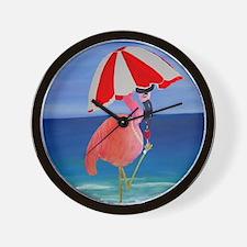 Flamingo Beach Wine Wall Clock