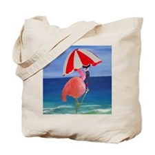 Flamingo Beach Wine Tote Bag