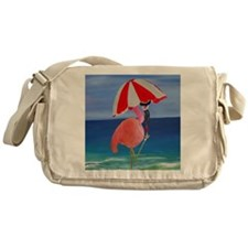 Flamingo Beach Wine Messenger Bag