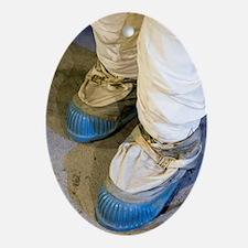 Apollo astronaut moon boots Oval Ornament