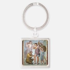 Battle wounds of Aeneas, Roman fre Square Keychain
