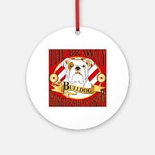 Brawny Bulldog Barbershop Brew Round Ornament