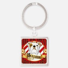 Brawny Bulldog Barbershop Brew Square Keychain
