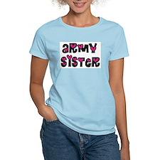 Army Sister Pink Hearts T-Shirt
