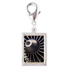 Aeroplane engine Silver Portrait Charm