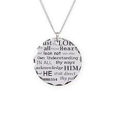 Proverbs 3:5-6 KJV Dark Gray Necklace