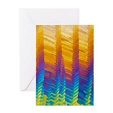 Caffeine crystals, light micrograph Greeting Card