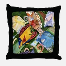 Tropical Fish School Throw Pillow
