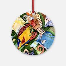 Tropical Fish School Round Ornament