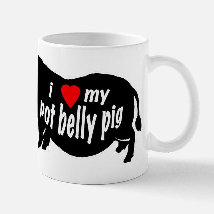 pot belly pig Large Mugs