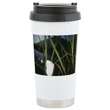 White Butterfly on leaf, close  Travel Mug