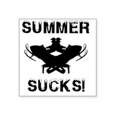 "Summer Sucks Square Sticker 3"" x 3"""