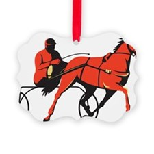 harness horse cart racing retro Ornament