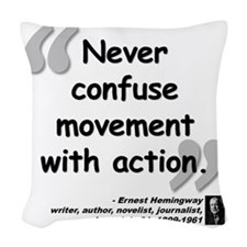 Hemingway Action Quote Woven Throw Pillow
