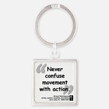 Hemingway Action Quote Square Keychain