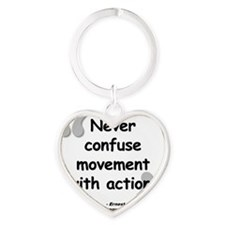 Hemingway Action Quote Heart Keychain