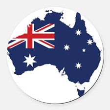 Flag Map of Australia Round Car Magnet