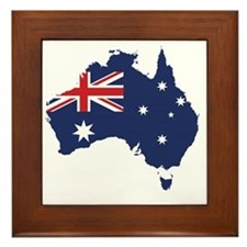 Flag Map of Australia Framed Tile