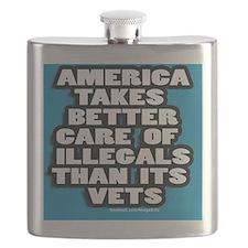 illegal Alien/vets 3 x 3 sticker Flask