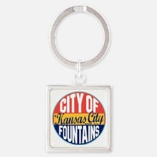 Kansas City Vintage Label W Square Keychain