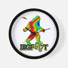 Bigfoot Rainbow Colored Wall Clock