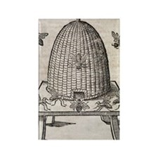 Bees and beehive, 17th century ar Rectangle Magnet