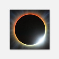 "Annular solar eclipse, artw Square Sticker 3"" x 3"""