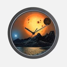 Alien landscape, artwork Wall Clock