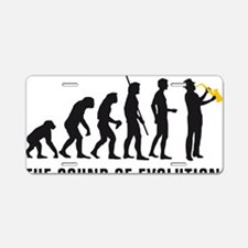 evolution saxophone player Aluminum License Plate