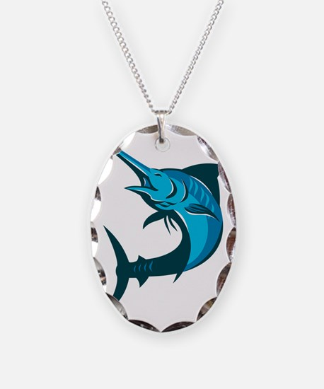 blue marlin fish jumping retro Necklace Oval Charm