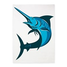 blue marlin fish jumping retro 5'x7'Area Rug