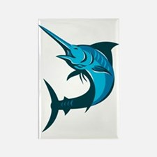 blue marlin fish jumping retro Rectangle Magnet