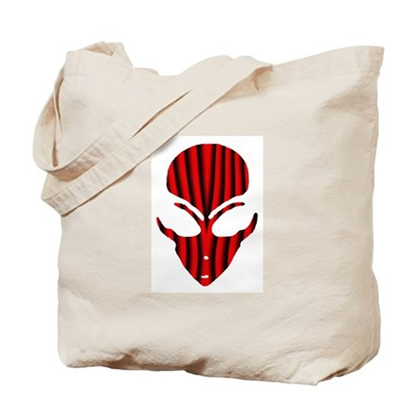 Alien Face Red and Black Spike Tote Bag