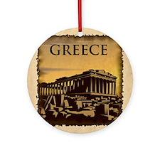Acropolis Of Athens Round Ornament