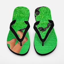 A woman's feet leaving carbon footprint Flip Flops