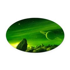 Alien ringed planet, artwork Oval Car Magnet
