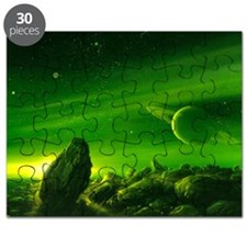Alien ringed planet, artwork Puzzle