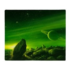 Alien ringed planet, artwork Throw Blanket