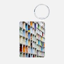 Apartment block demolition Keychains