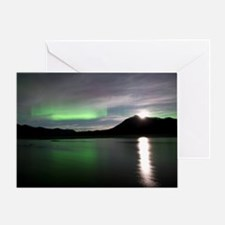 Aurora borealis and Moon Greeting Card