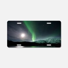 Aurora borealis and Moon Aluminum License Plate