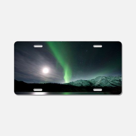 Aurora borealis and Moon Aluminum License Plate