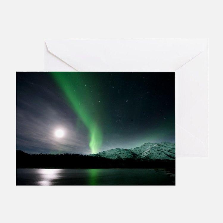 Aurora borealis and Moon Greeting Card
