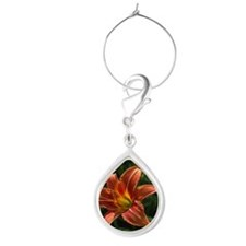 Single wood lily Teardrop Wine Charm