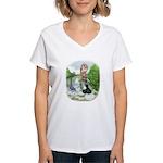 Assorted Trio Pigeons Women's V-Neck T-Shirt