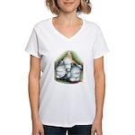 Chinese Owl Pigeons Women's V-Neck T-Shirt